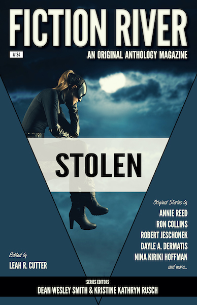 """Cover of Fiction River anthology magazine, Stolen"""" Girl with mask sitting in the clouds looking downward."""